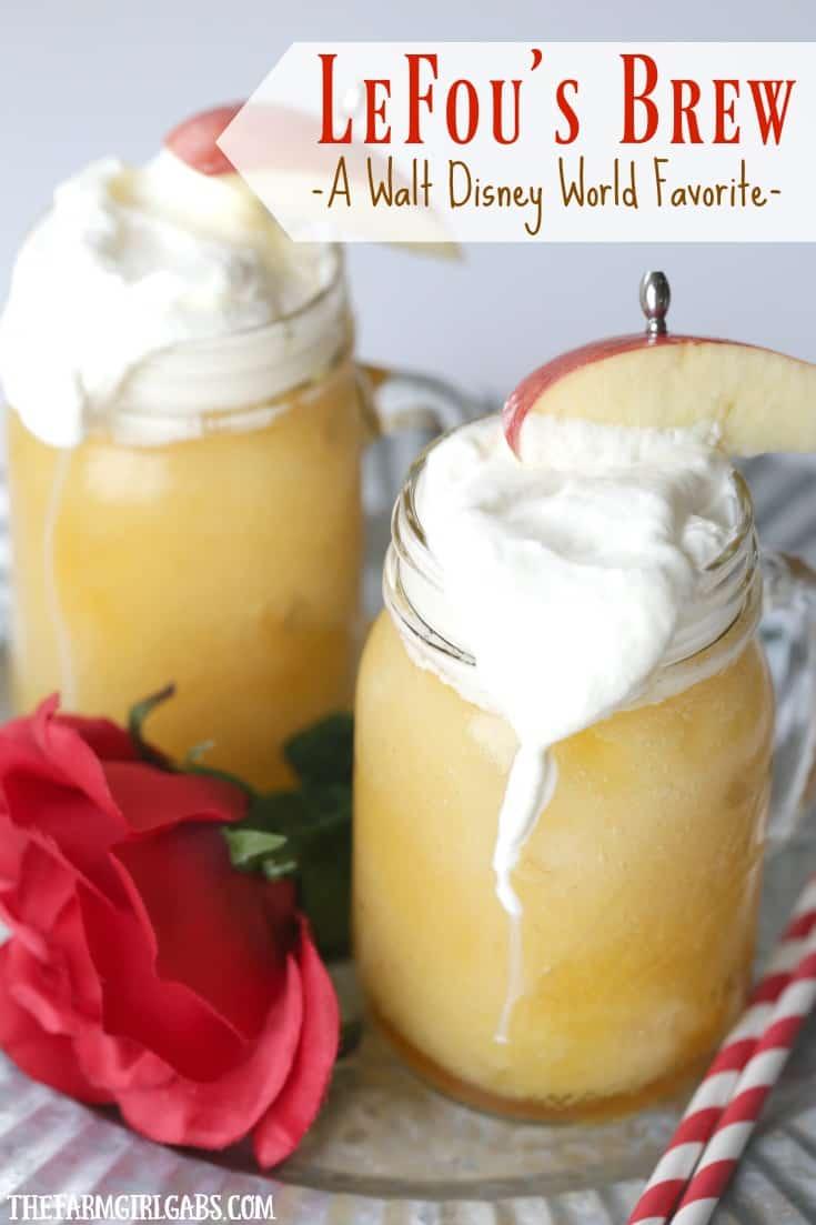 LeFou's Brew is a slushy apple drink popular at Walt Disney World! Make your own version at home with this easy recipe. #WaltDisneyWorld #BeautyAndTheBeast #DisneyRecipe #DrinkRecipe #Belle #DisneyPrincess