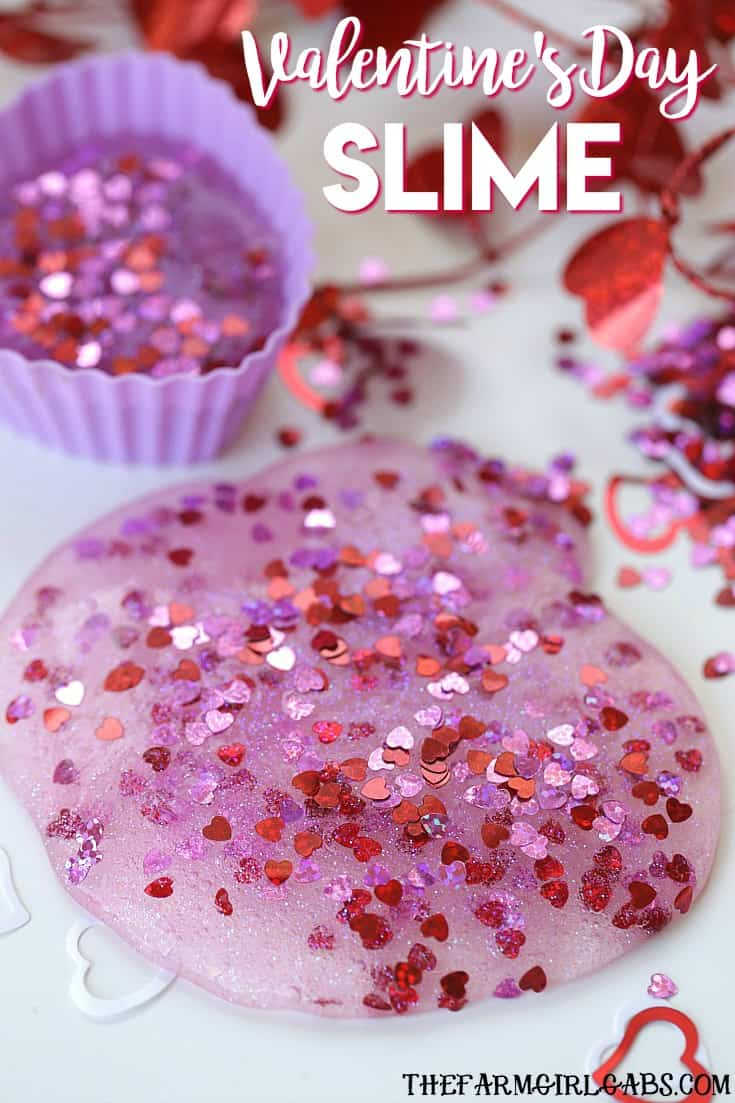 You and your kids will LOVE making this easy DIY Valentine's Day Slime project. This fun craft makes a great party favor too! #Slime #ValentinesDay #Crafts #DIY #Kids #KidsCrafts #PartyIdeas