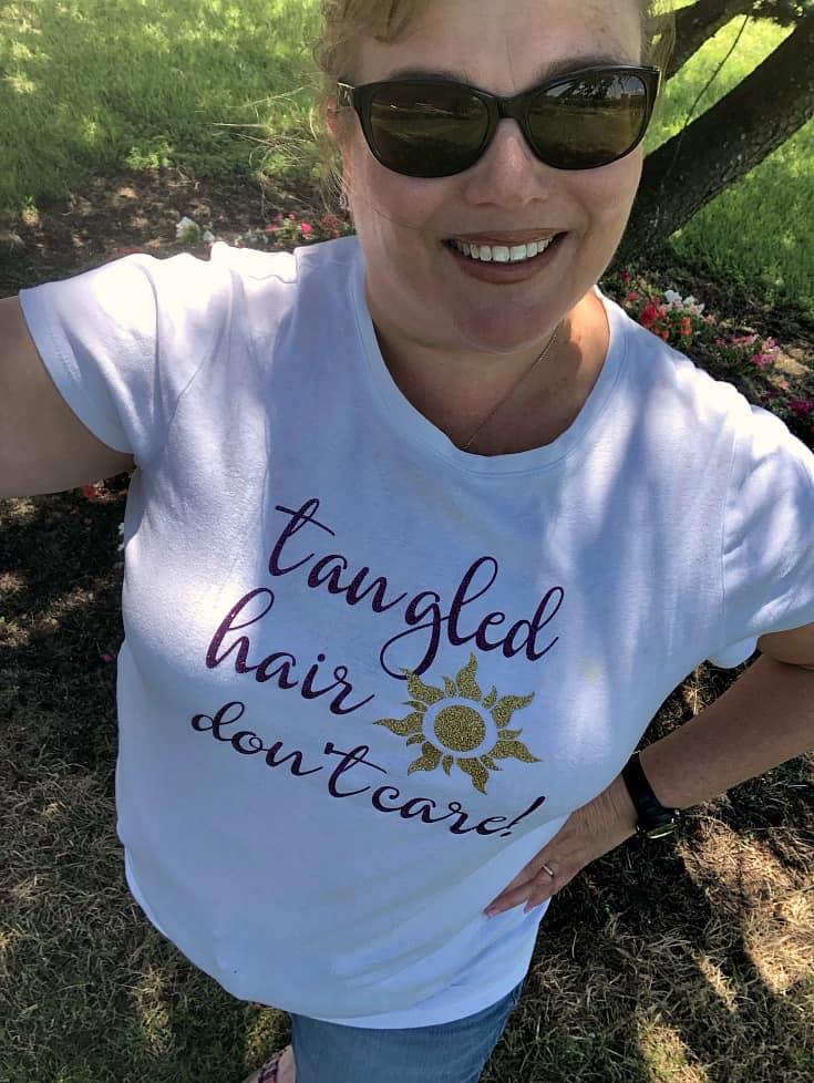 Diy Rapunzel Tangled Hair Don T Care Shirt The Farm Girl