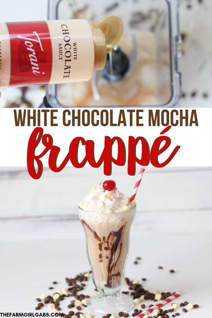 Skip the coffee house and make your own delicious White Chocolate Mocha Frappé at home. This frosty coffee drink recipe, is the perfect summer cool down. #Ad #toraniwhitechocolatesauce #coffeedrink #frappe