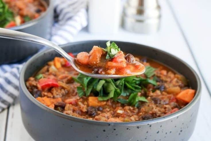 Pumpkin Chili is a delicious twist on the classic chili recipe. This easy chili recipe is made with pumpkin puree, ground beef, beans, and a simple homemade blend of chili seasonings.