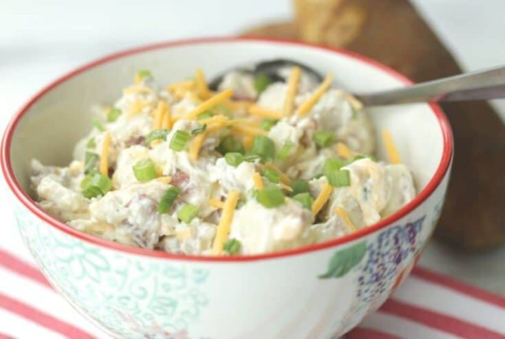 Ready to kick off barbeque season? A salad or two is essential. This easy loaded baked potato salad recipe is the delicious twist on the classic potato salad.