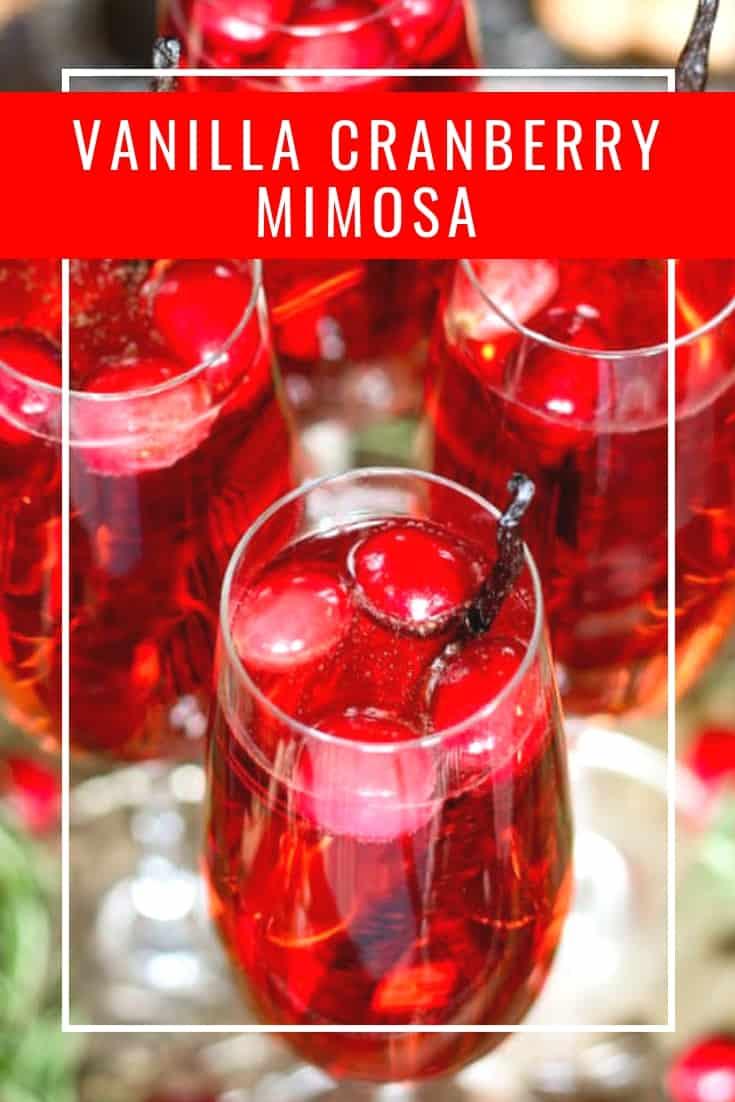 Vanilla cranberry mimosa pinterest pin with text