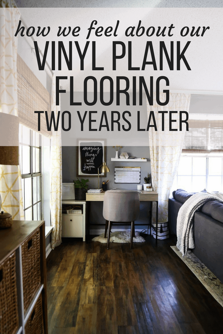 A vinyl plank flooring review looking at Lowe's Style Selections vinyl plank flooring and how we feel about it after living with it for two years.