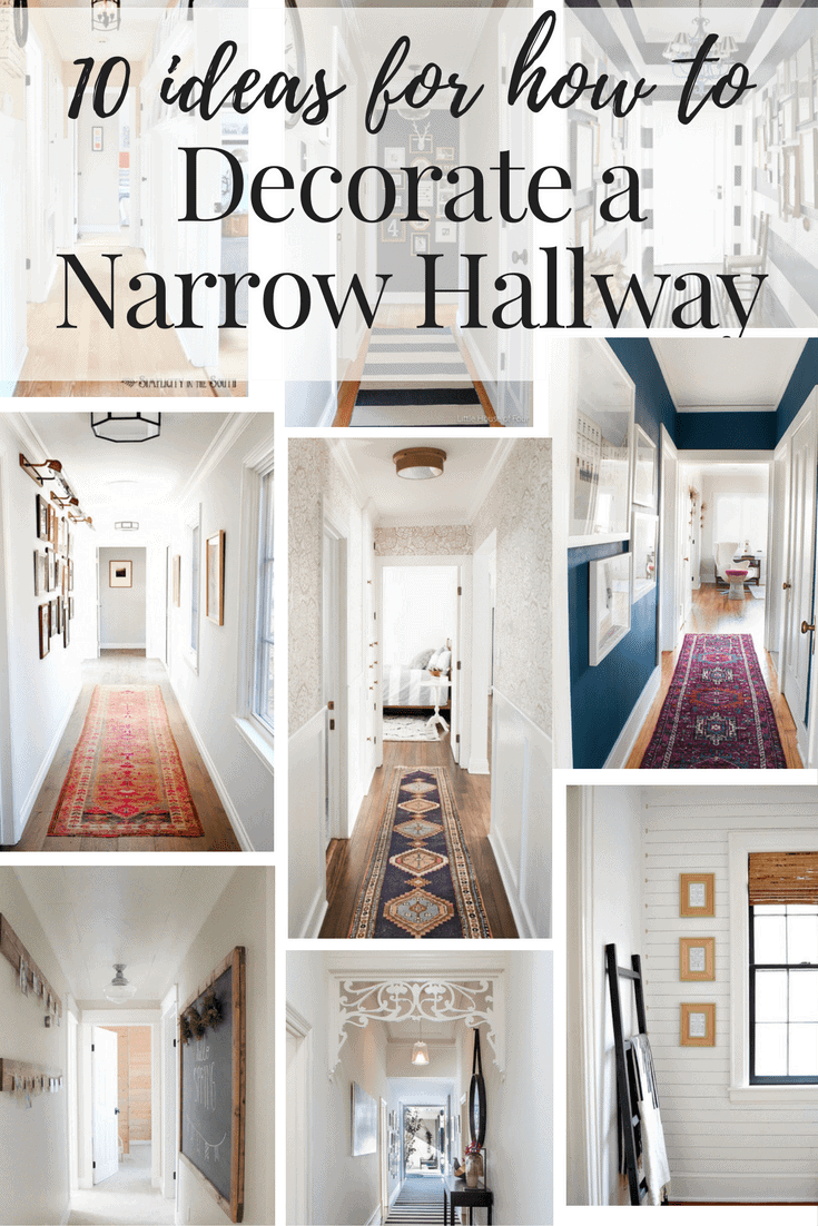 Collage of 9 hallway images with text overlay stating that the post has 10 hallway decorating ideas