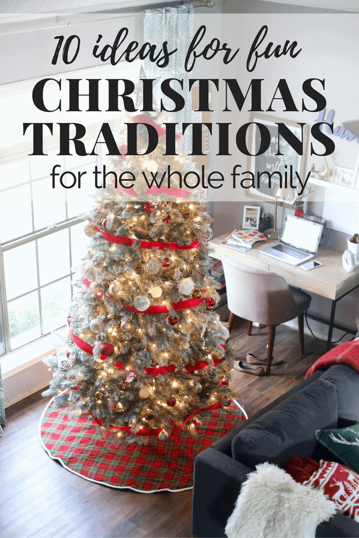 A list of 10 great ideas for Christmas traditions to start with your family. These are great for kids and toddlers, and there is so much fun inspiration for celebrating the holiday!