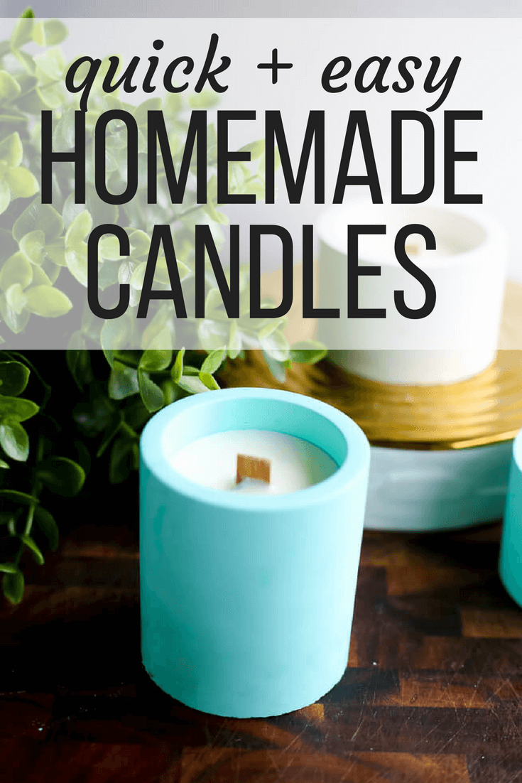 "Homemade candles with text overlay - ""Quick & easy homemade candles"""