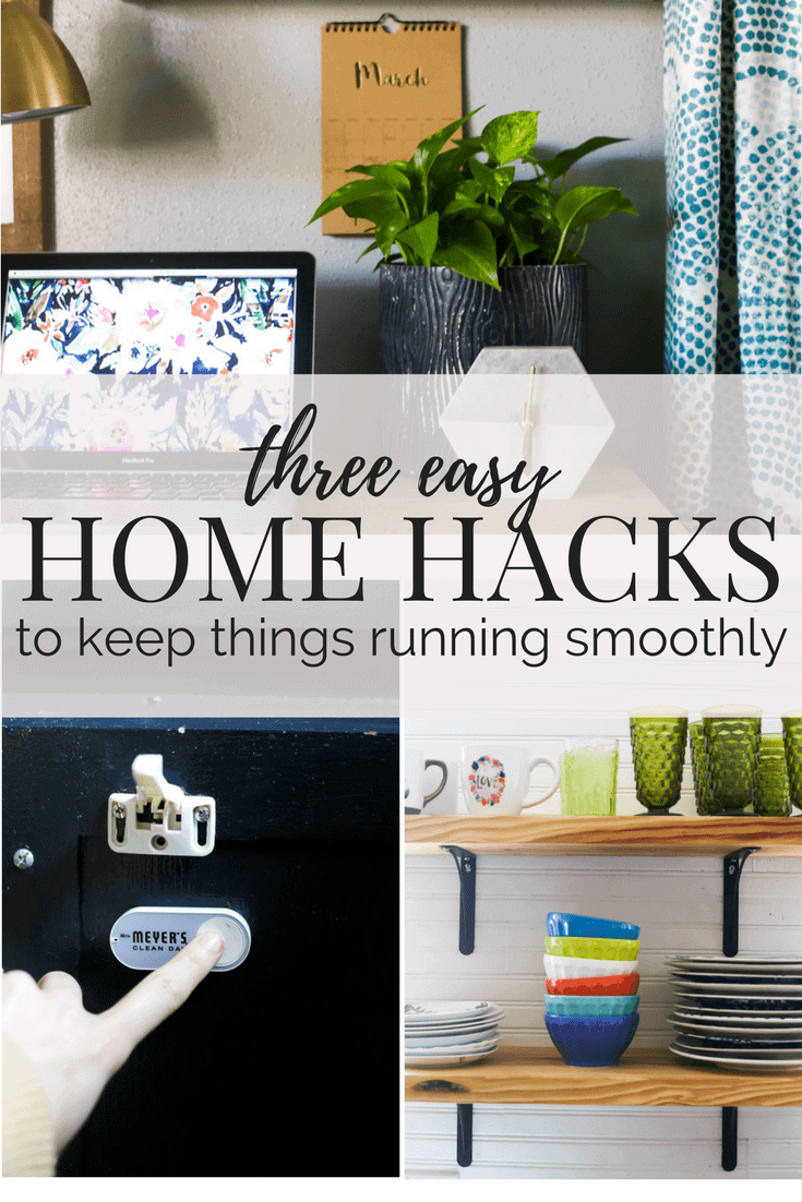 Three quick and simple home hacks to help keep your household running smoothly. Easy tips for cleaning, shopping, and scheduling your life so you can slow down and enjoy it more!