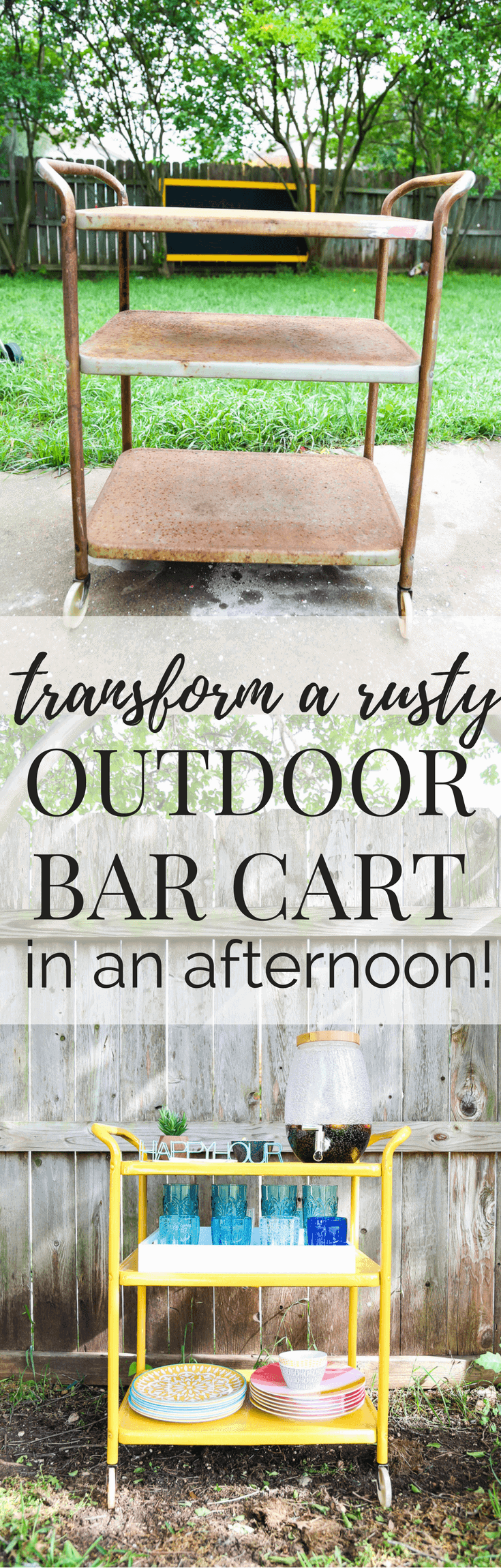 How to transform a rusty backyard bar cart using Rustoleum's line of rust-stopping primer and spray paint. Great ideas for rusty furniture makeovers!