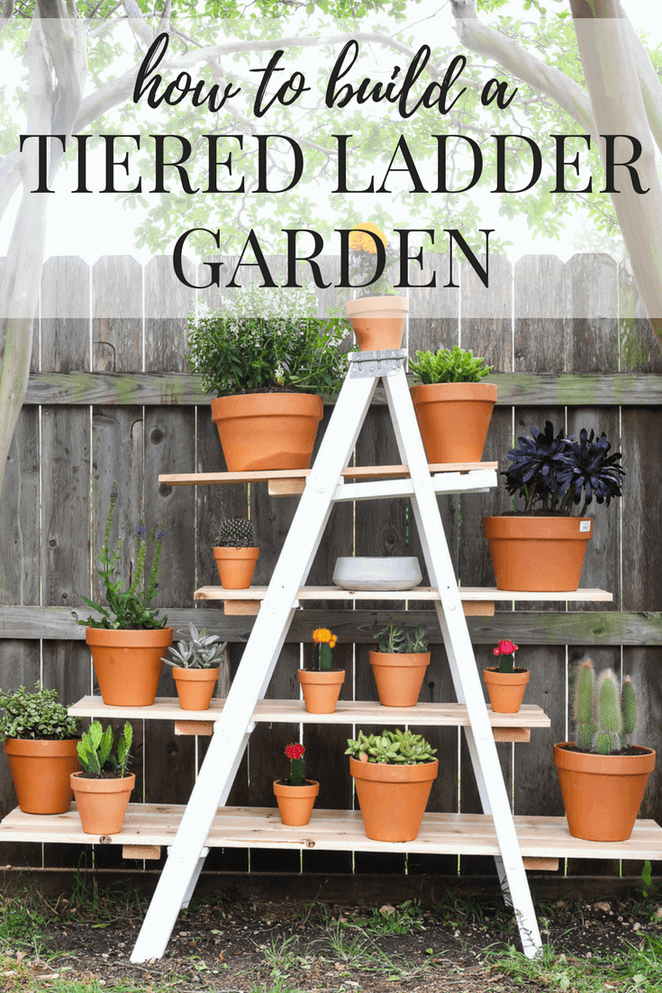 diy tiered plant stand from an old ladder love renovations. Black Bedroom Furniture Sets. Home Design Ideas