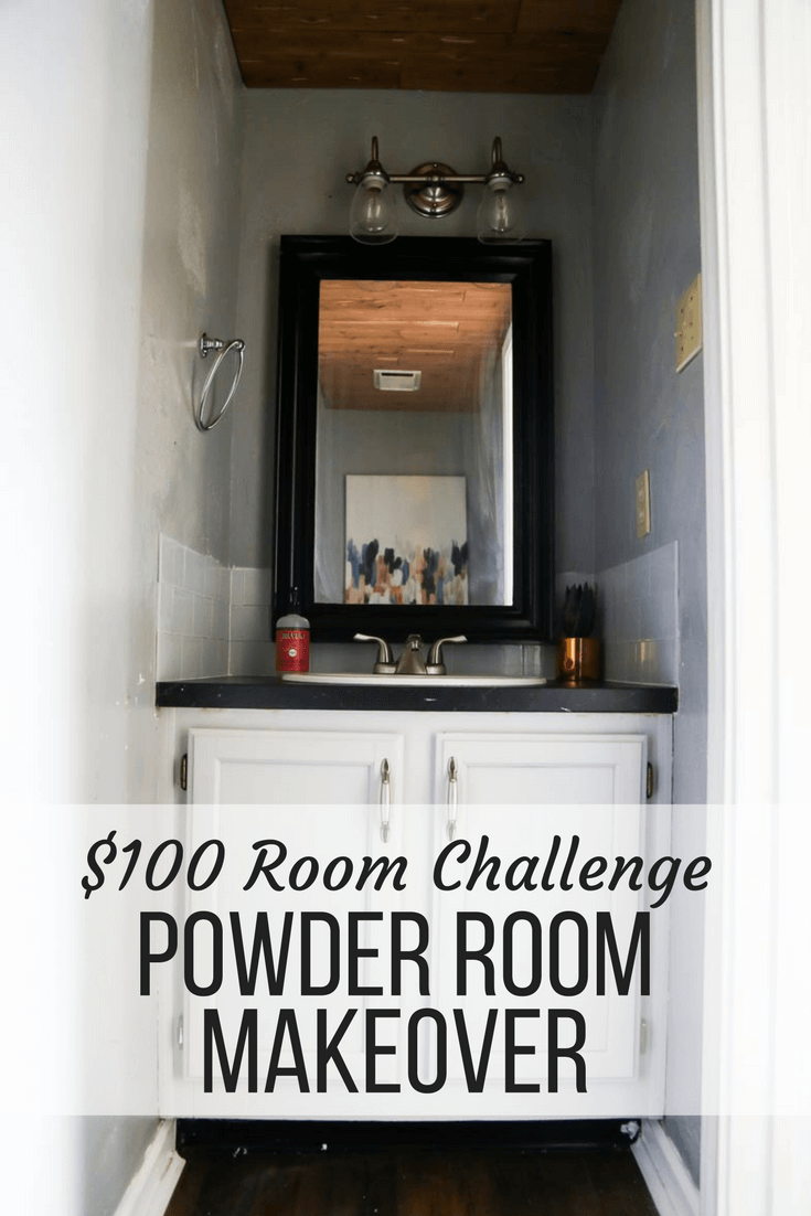 A fun $100 Room Challenge makeover - an easy powder room makeover