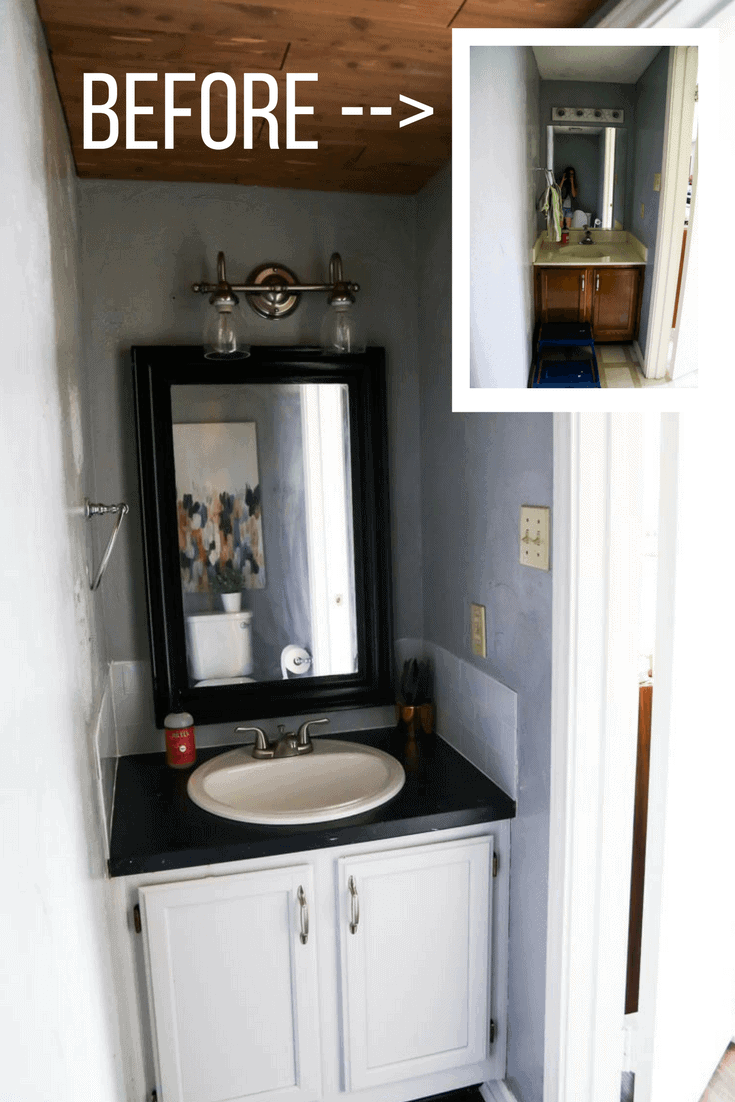 A gorgeous $100 Room Challenge makeover - a simple and affordable powder room renovation using peel and stick tiles for the backsplash