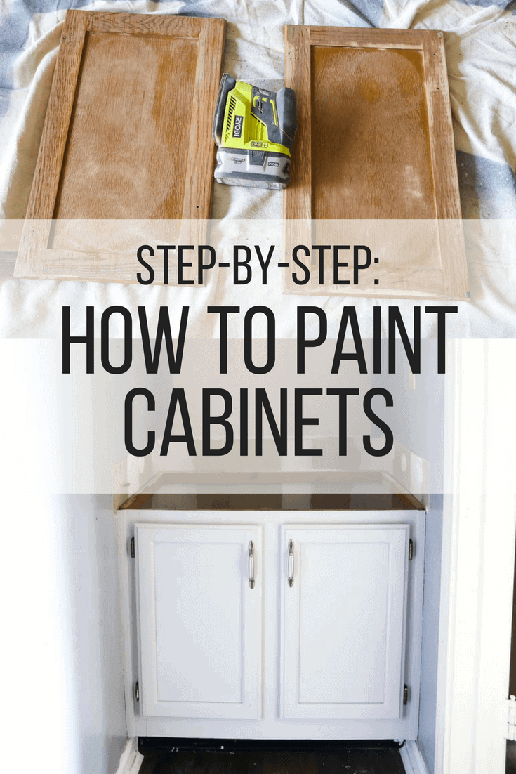 A quick tutorial for how to paint cabinets in your home - it's easy to use a sprayer to achieve a professional finish!