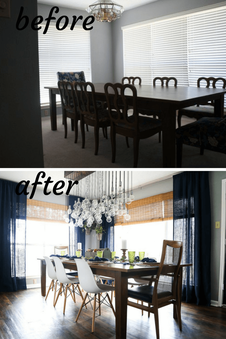 Before and after dining room makeover. A renovation with tons of DIY projects, ideas, and inspiration.
