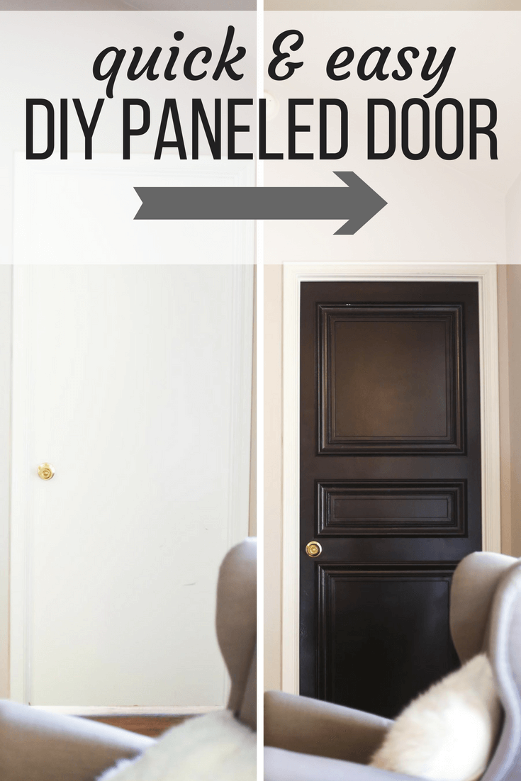 How to make a gorgeous DIY paneled door from a hollow core door - it's quick and easy, and looks so beautiful!