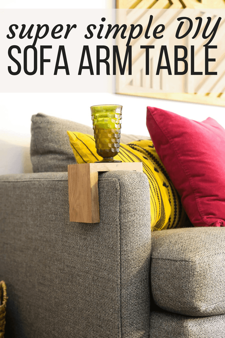 This simple DIY sofa arm table (also called a couch sleeve) is a super simple project that gives you some extra table space in your living room without taking up any additional floor space! It's a quick and easy DIY idea. #diy #diyproject #sofatable #woodworking #powertools #easydiy