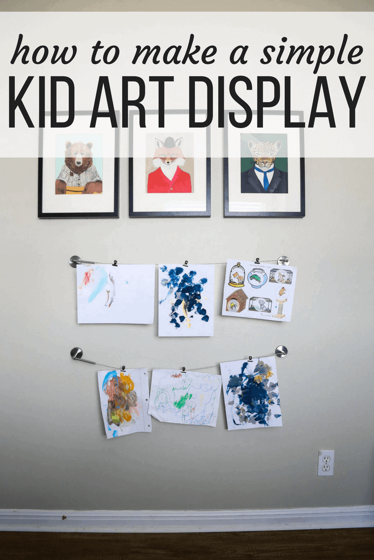 easy kid art display using IKEA curtain rods