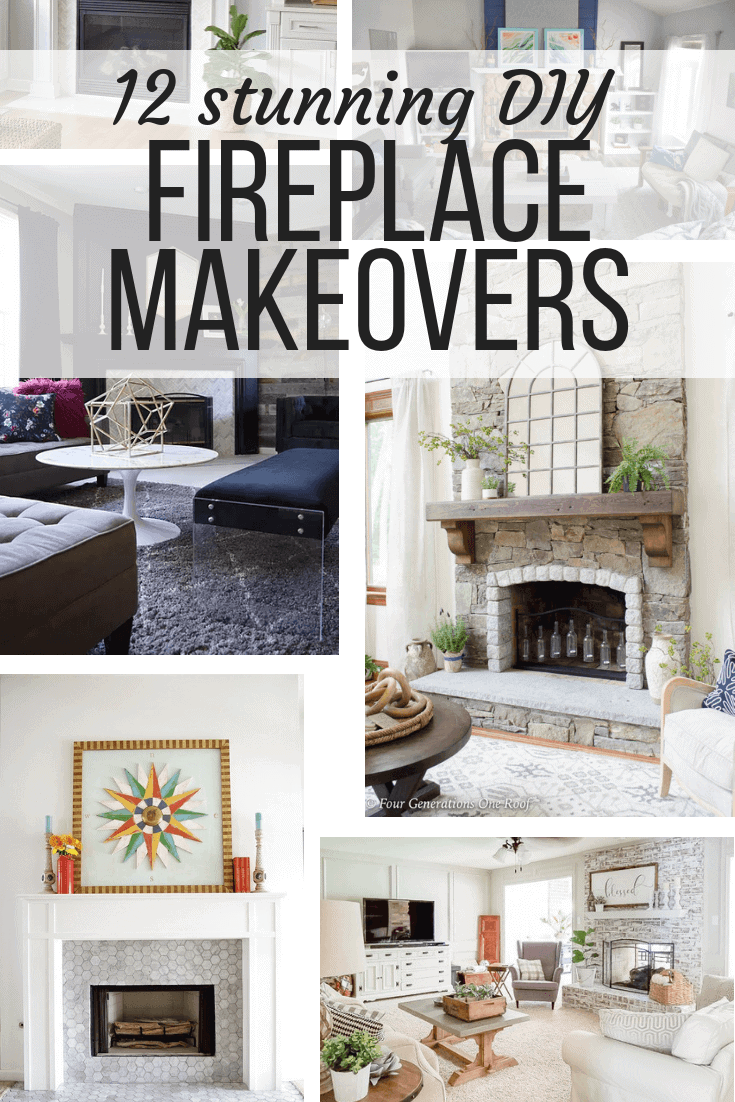 Collage Of Diy Fireplace Makeover Ideas