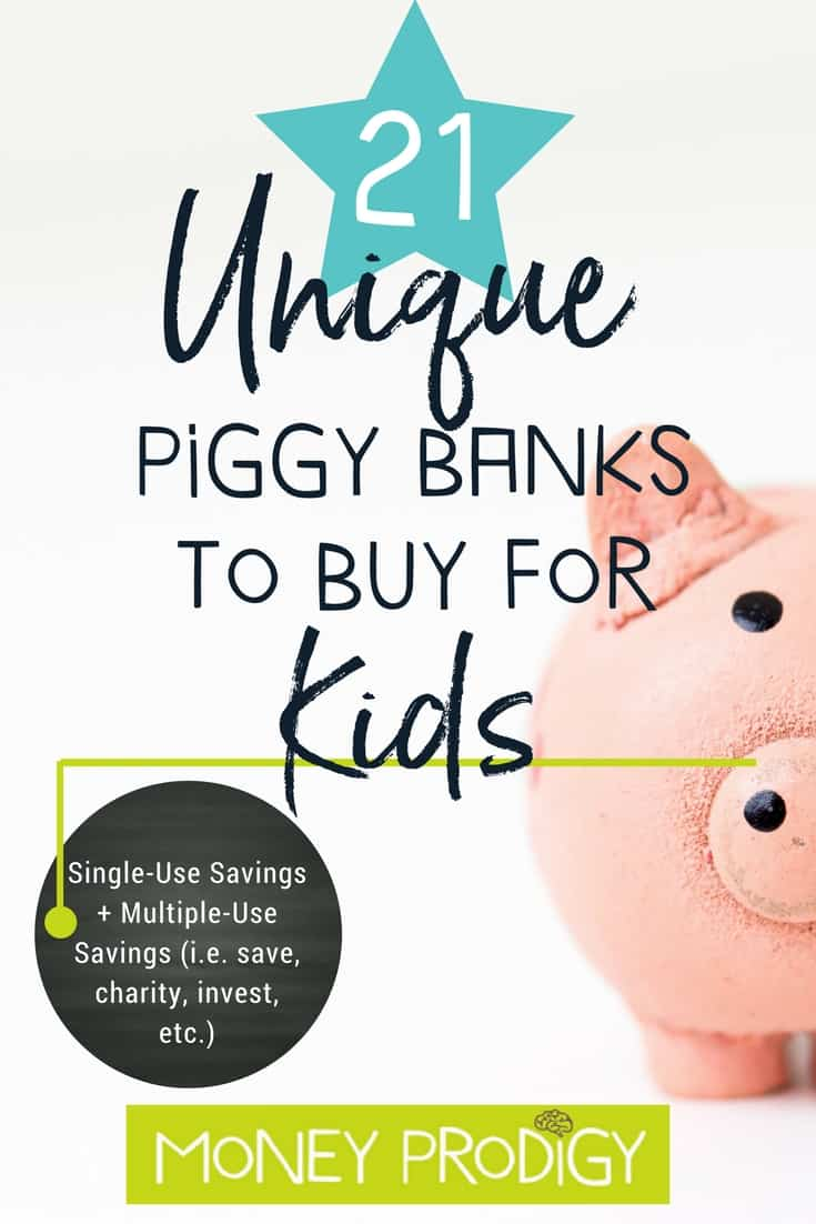 "unique pink piggy bank for kids with text overlay ""21 unique piggy banks to buy for kids"""