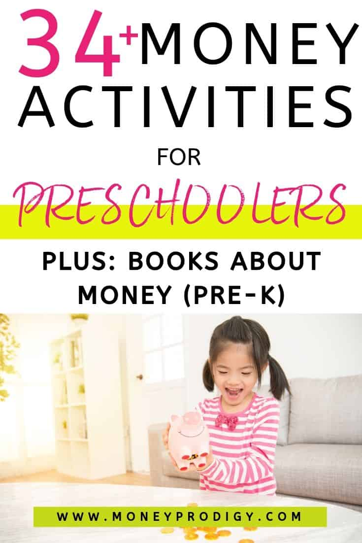 "preschool girl excitedly shaking out piggy bank, text overlay ""34+ money activities for preschoolers plus books for money (pre-k)"""