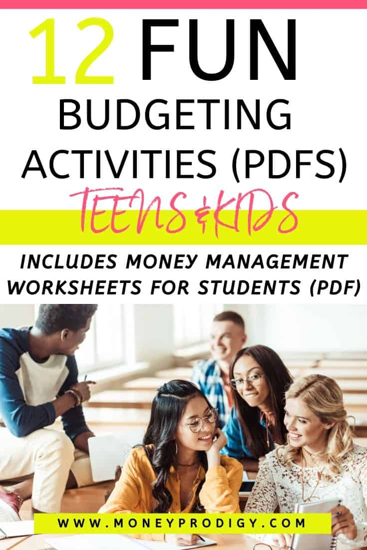 """teenager students working on money management worksheets, text overlay """"12 fun budgeting activities PDFs teens and kids"""""""