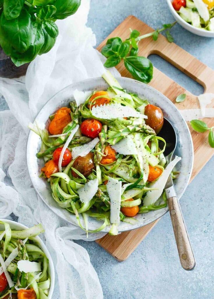 Lemony Shaved Asparagus Tomato Salad