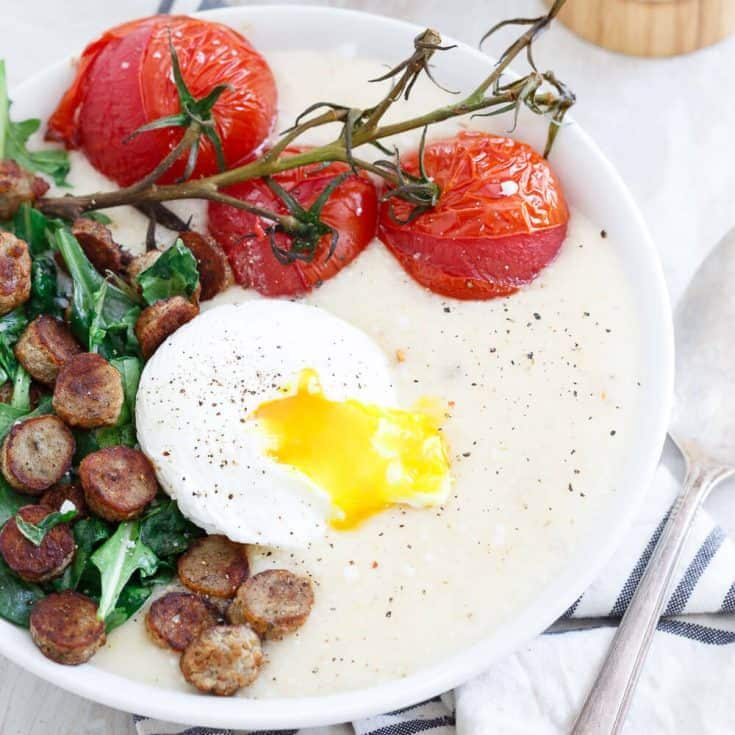 Chicken Sausage Cheese Grits with Burst Tomatoes