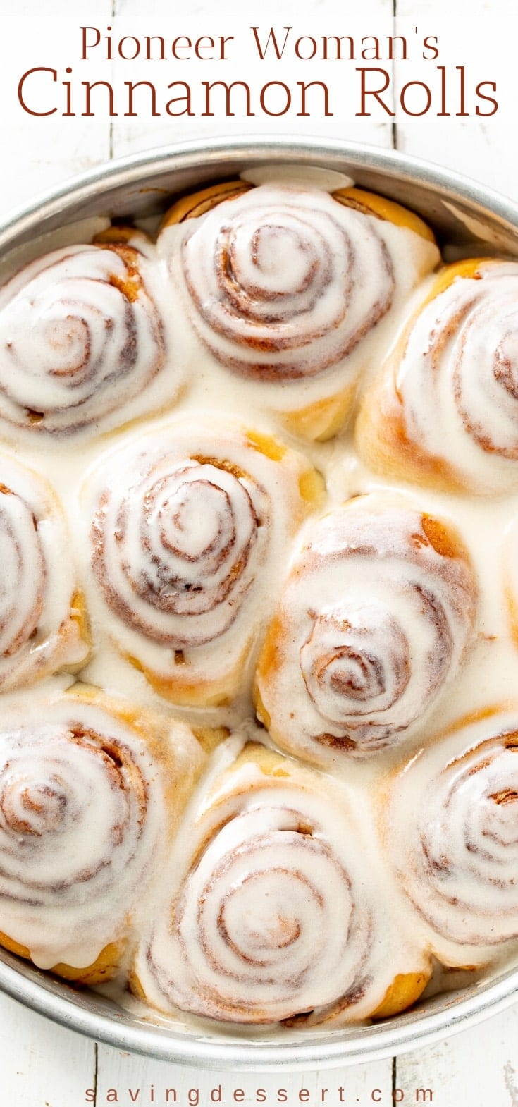 A close up of a pan of Pioneer Woman's Cinnamon Rolls