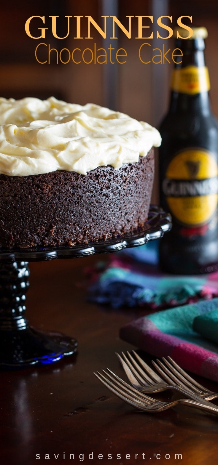 Guinness Chocolate Cake - A lightly sweet and moist chocolate cake, with wonderfully interesting spicy notes from the stout Guinness Foreign Extra Beer. Perfect for St. Patrick's Day or for the chocolate lover in your home! #stoutcake #guinnesschocolatecake #guinnesscake #guinness #cake #stpatricksday #chocolatecake
