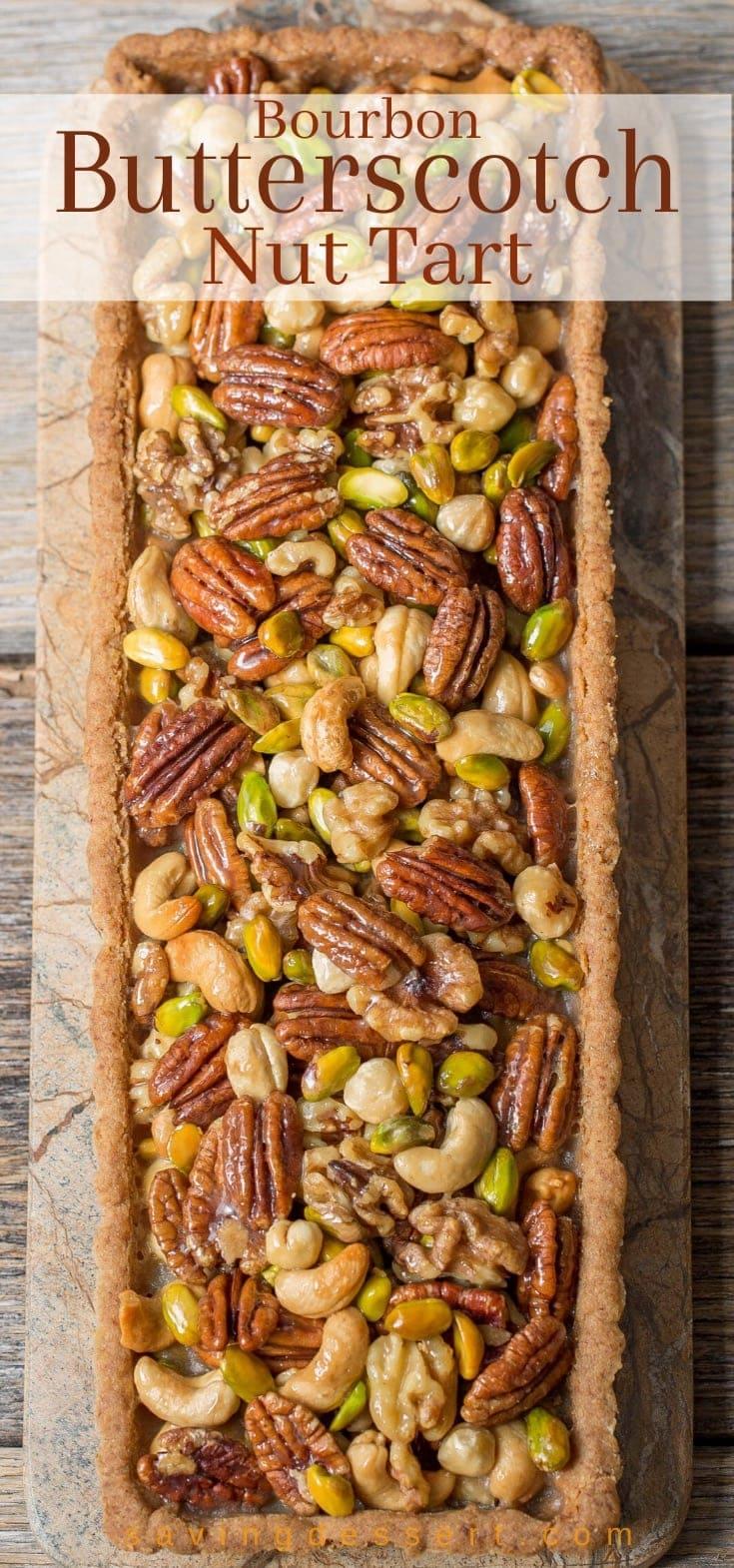 An overhead view of a bourbon butterscotch nut tart