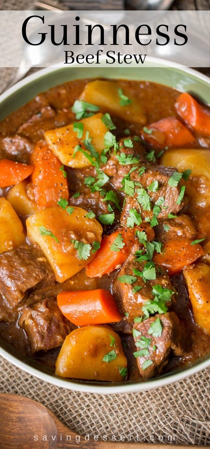 A bowl of Guinness Beef Stew with carrots and potatoes