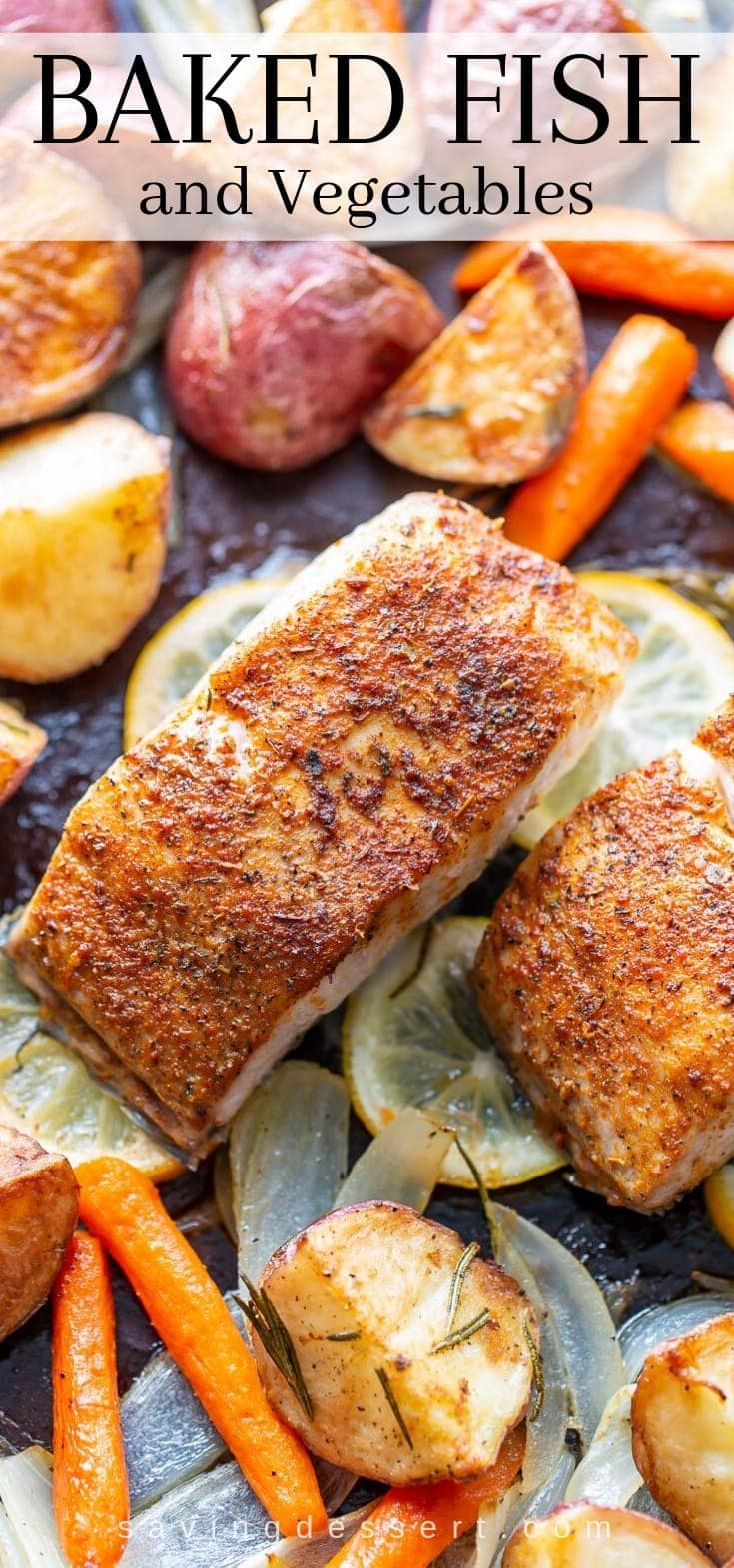 A sheet pan with baked fish and vegetables