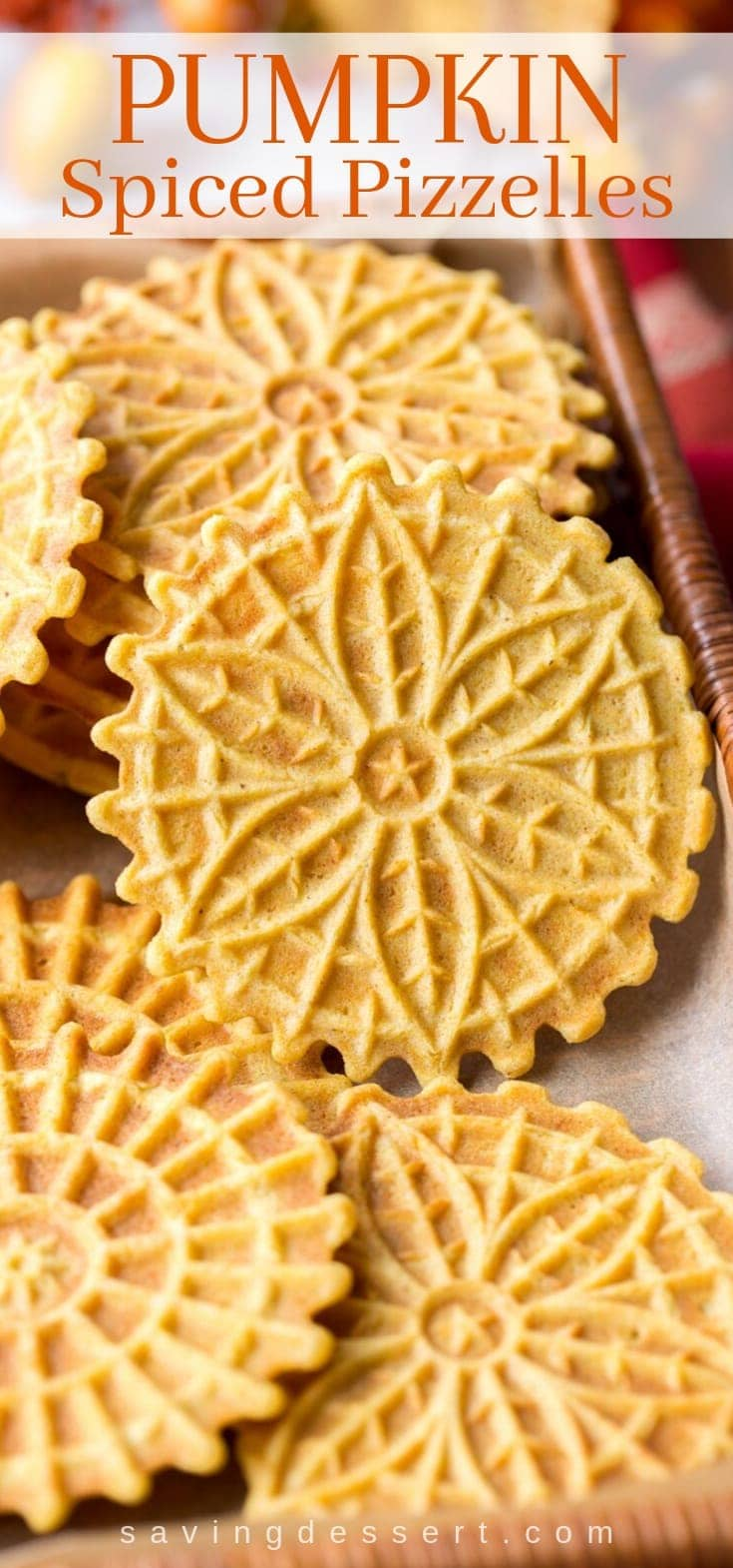A basket filled with pumpkin spiced pizzelles