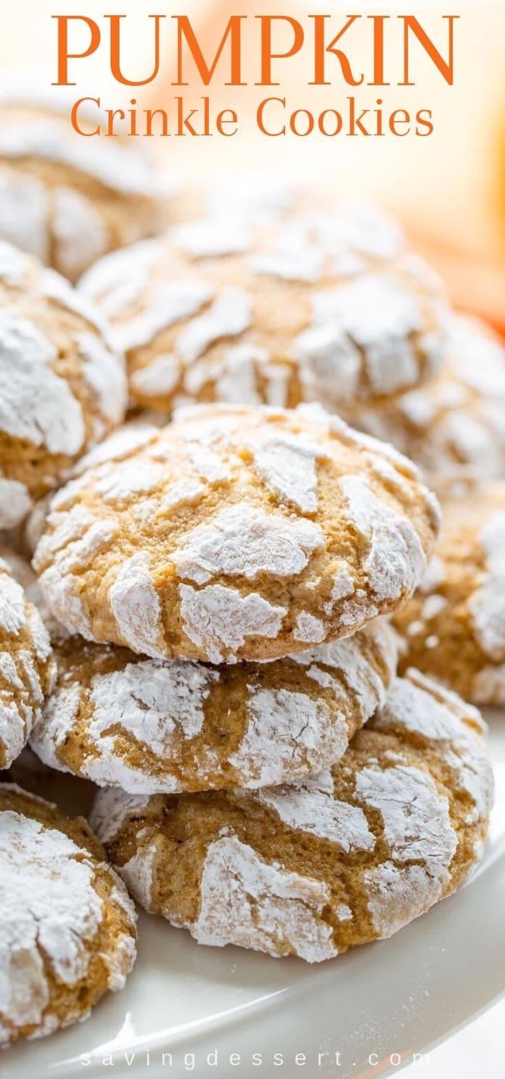 A stack of pumpkin crinkle cookies