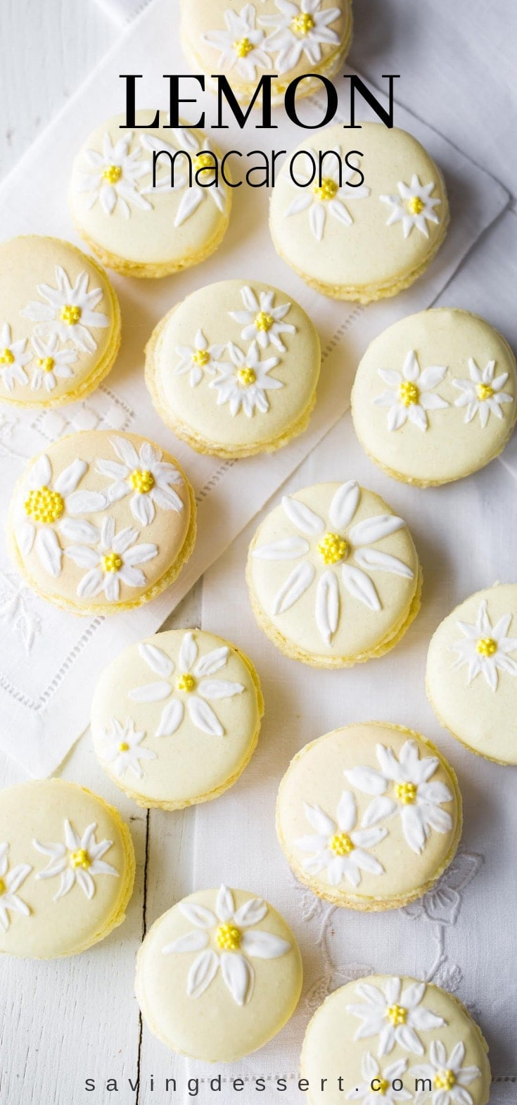 Lemon Macarons - brighten your day with these delicious cookies decorated with a few brushstrokes of royal icing and sprinkles to help usher in the first warm days of spring. #macarons #lemon #cookies #meringuecookies #lemonmacarons #Italianmacarons #decoratedmacaron #macaron