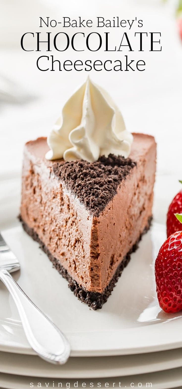 A slice of chocolate cheesecake topped with whipped cream