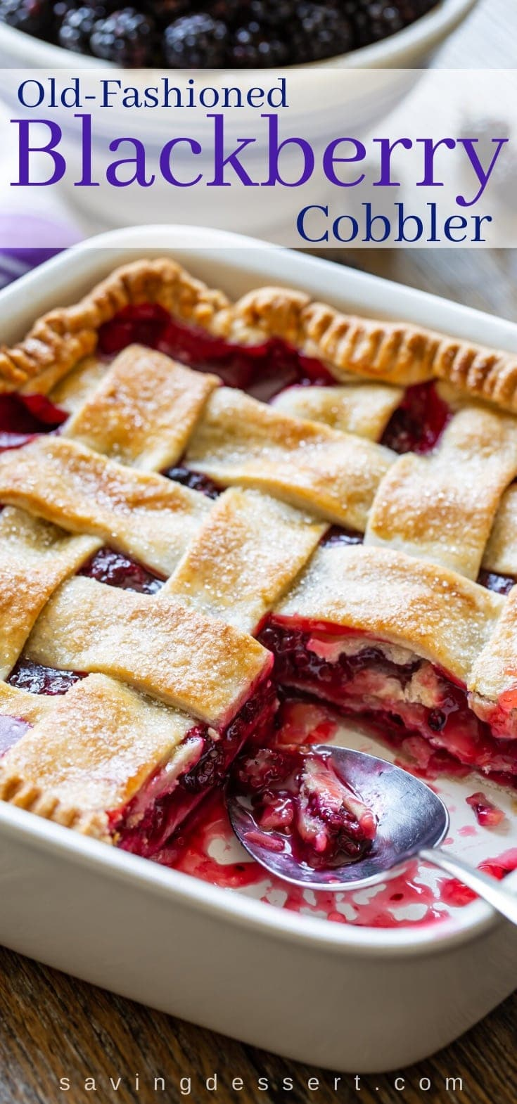 An old-fashioned blackberry cobbler with a pastry lattice crust
