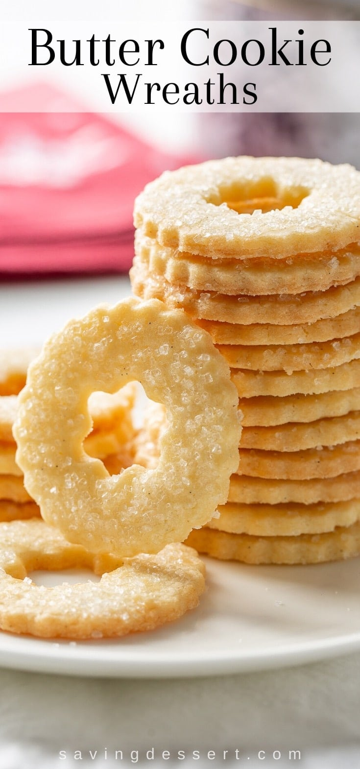 A stack of butter cookie wreaths