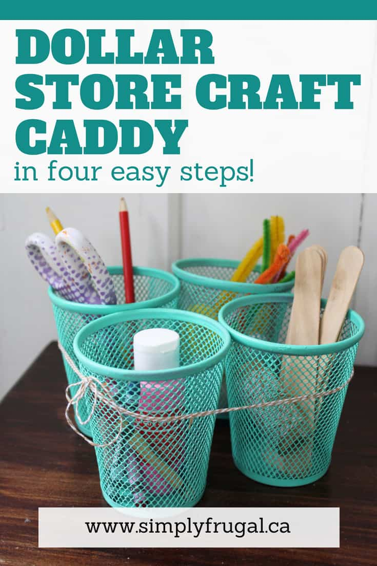 I love this dollar store DIY craft caddy and it's such an easy project to put together! You could whip it up in no time and paint it in any color to suit your taste. #dollarstorecraft #dollarstore #crafts #organization