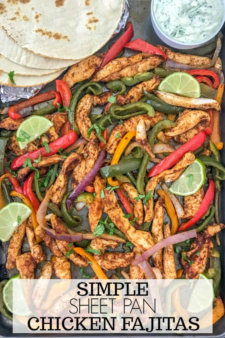 Easy Sheet Pan Chicken Fajitas - an easy, flavorful, one-pan meal that comes together effortlessly and with minimal cleanup. Great for lunches, meal prep, or if you're looking for a quick and simple dinner option tonight! #mealprep #sheetpanrecipes #sheetpan #chickenfajitas | https://withpeanutbutterontop.com