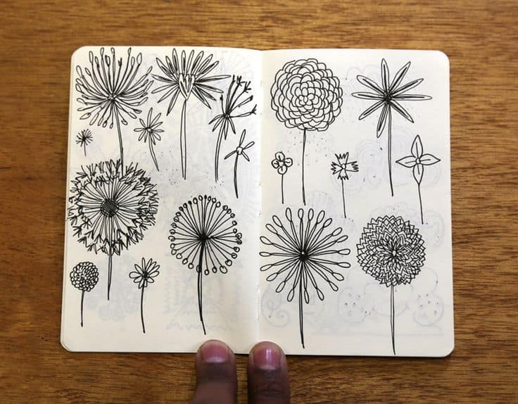 JItesh Patel Illustration Moleskine Sketch DrawingFlowers 3