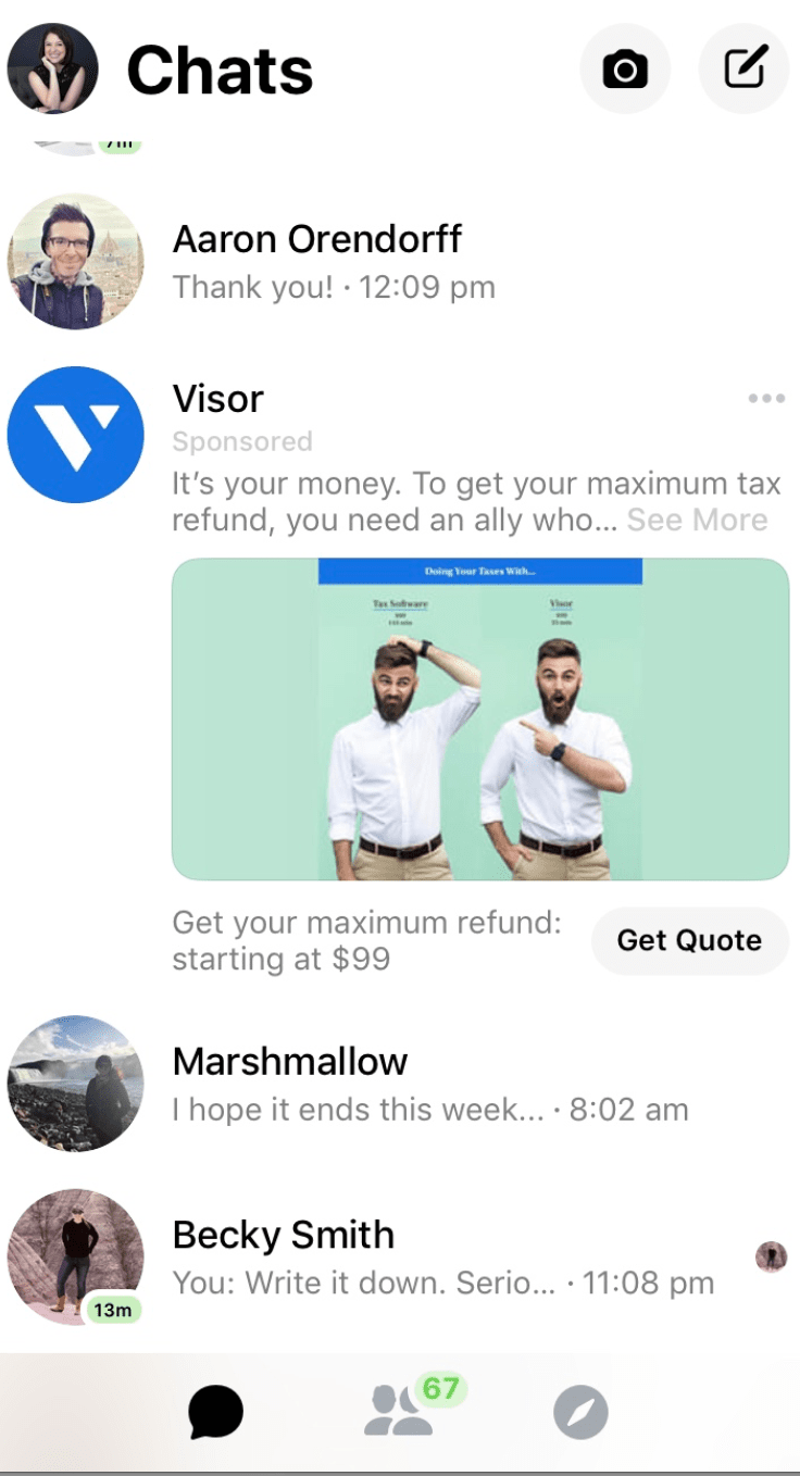 facebook messenger ad size