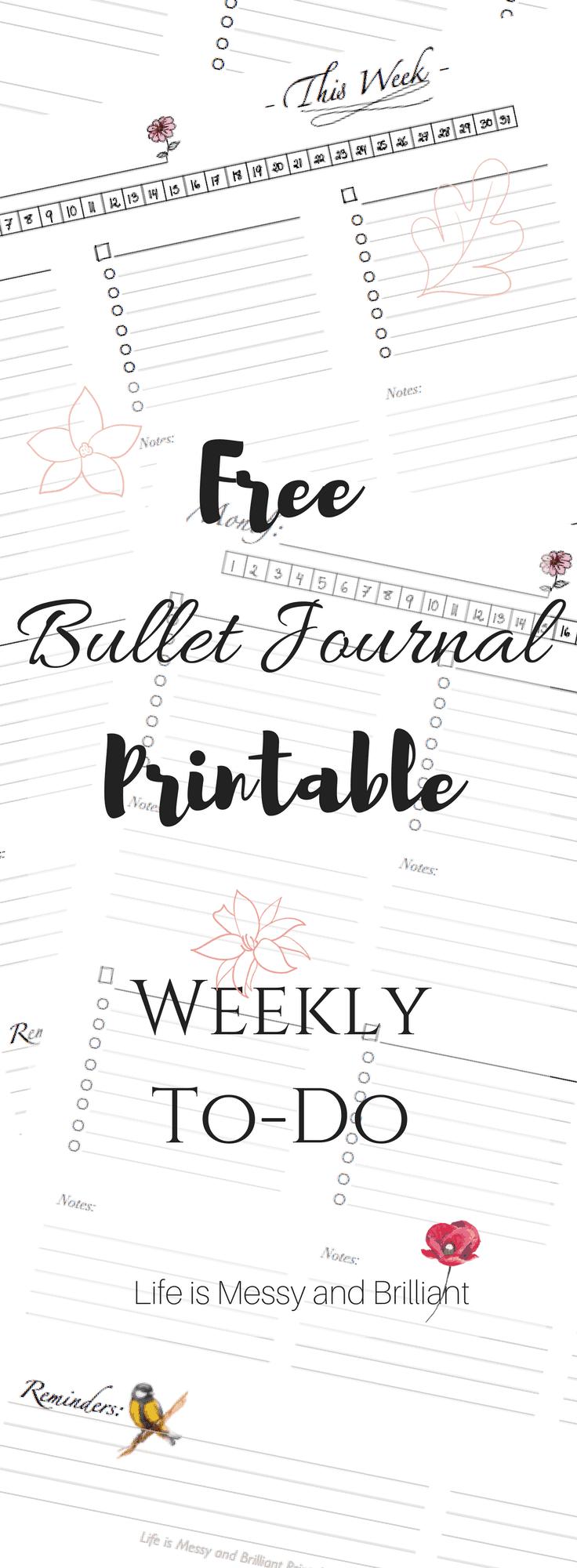 Punchy image in bullet journal key printable