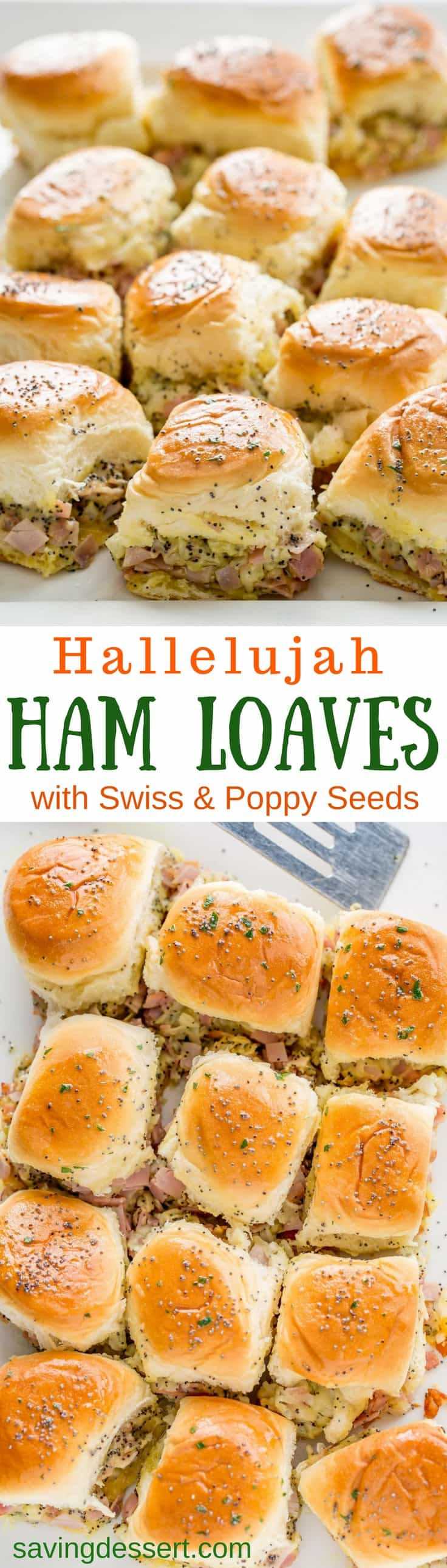 Hallelujah Ham Loaves (also known as ham and cheese sliders) - Stuffed with chopped sweet ham, plenty of shredded Swiss, diced onions and poppy seeds, these easy make-ahead hearty sliders are just the thing for your office party, anytime get-together, or football-frenzied hoopla! #savingroomfordessert #hamandcheese #sliders #hamsliders #partyfood #partysandwiches #partysliders