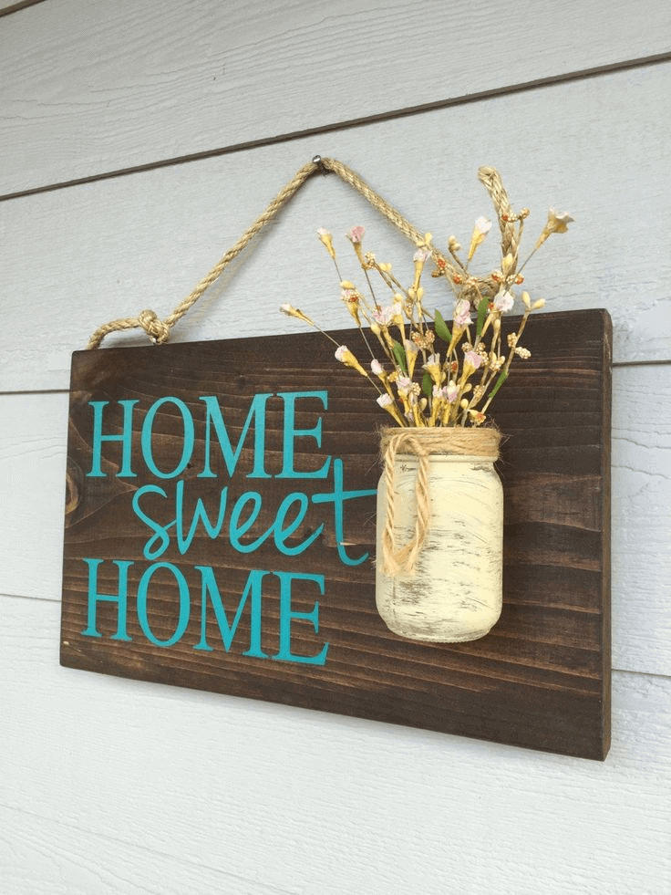Home sweet home sign wooden rustic small front porch decor ideas