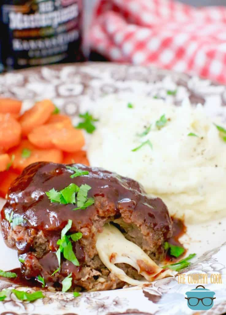 Individual BBQ Meatloaf stuffed with mozzarella cheese