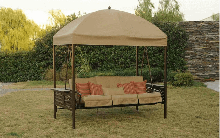 UNIQUE STEEL FRAME 3 PERSON PATIO SWING WITH CANOPY
