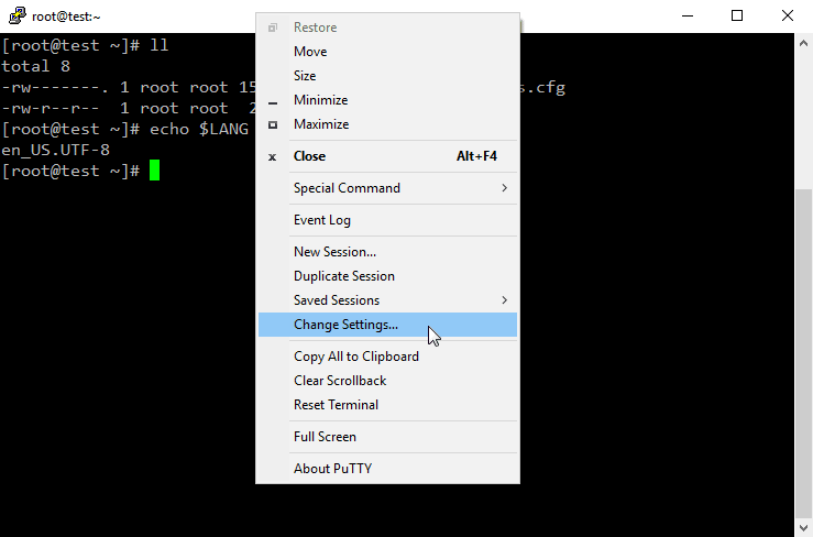 """PuTTY - Click """"Change Settings"""" on the Menu"""