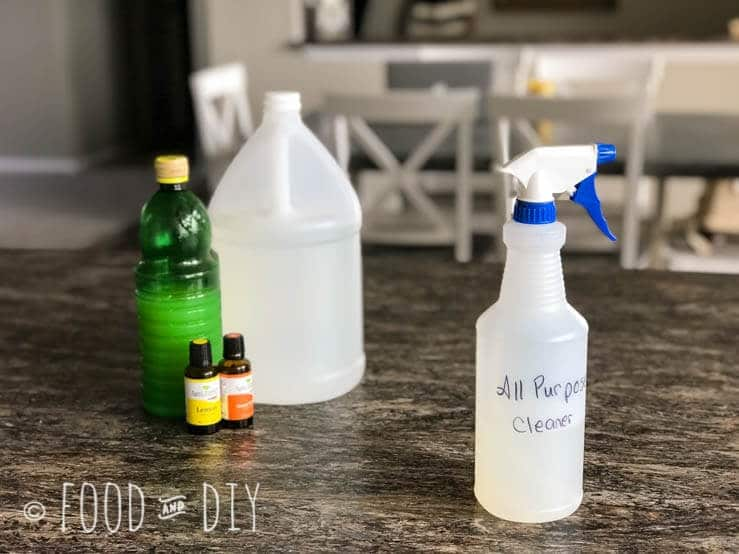 This DIY Homemade All Purpose Cleaner uses 3 ingredients and doesn't have a gross chemical smell to it! Plus it really works!!