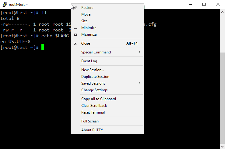 PuTTY - Right Click on Title Bar